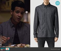 Tony's button down shirt on 13 Reasons Why.  Outfit Details: https://wornontv.net/69629/ #13ReasonsWhy