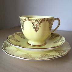 Royal Albert Pastel Yellow and Gold Triangle Vintage Teacup Trio, English Tea Cup, Saucer and Plate