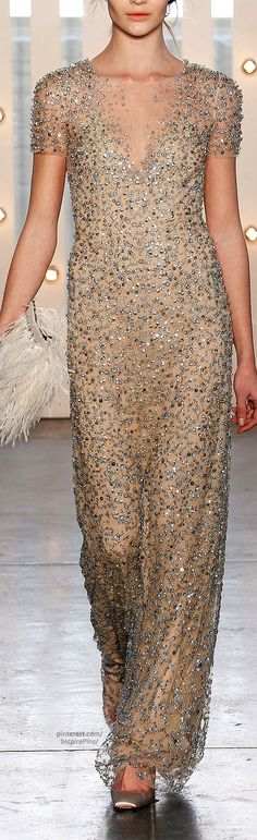 Fall 2014 Ready-to-Wear Jenny Packham I I like the way that this gown sparkles and particularly how the neckline is designed to fade away.
