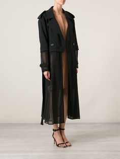 Shop DKNY sheer long trench coat from Farfetch