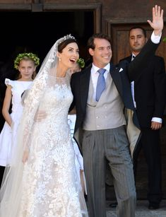 Prince Felix of Luxembourg and his bride Claire Lademacher in Elie Saab
