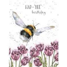 Wrendale Designs by Hannah Dale Hap-Bee Birthday Bee Greeting Card - Set of Three Happy Birthday Greetings Friends, Birthday Wishes For Friend, Happy Birthday Flower, Birthday Wishes Quotes, Happy Birthday Messages, Happy Birthday Images, Birthday Fun, Beautiful Birthday Wishes, Happy Birthday Country