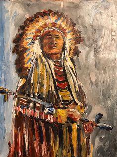18 x 24 inch Sitting Bull stretched canas print ready to hang Canvas Wall Art, Canvas Art Prints, Southwestern Art, Native American Art, Phoenix Bird Art, Canvas Prints, American Folk Art, Bull Art, Art