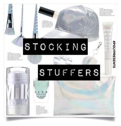 """#PolyPresents: Stocking Stuffers no.3"" by nadyabyne ❤ liked on Polyvore featuring beauty, Unicorn Lashes, MILK MAKEUP, Huda Beauty, Boohoo, Forever 21, J.Crew, Topshop, contestentry and polyPresents"