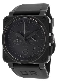Timing is Everything -- Bell & Ross Men's Aviation Automatic Chronograph Black Rubber Blackout Dial