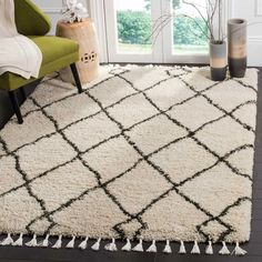 Safavieh Moroccan Fringe Shag Cream/ Grey Area Rug - X Square X Square - Cream/Charcoal), Ivory (Polypropylene, Geometric) Morrocan Decor, Moroccan Bedroom, Plush Area Rugs, Casual Decor, Rug Size Guide, Online Home Decor Stores, Online Shopping, Beige Area Rugs, Colorful Rugs
