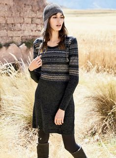 Andean manta motifs are knit in earthy Fair Isle patterning on the bodice and sleeves of our soft charcoal minidress in baby alpaca (63%), nylon (23%) and wool (14%).