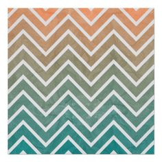 Peach Teal Chevron Pattern Posters