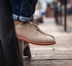Although the cooler weather has arrived, it's always nice to have a pair of suede bluchers around.  #english #suede #goodyearwelt #bluchers #cuffed #denim