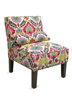 Upholstered Armless Chair in Santa Maria Desert Flower, Platinum Collection by SF Designs.