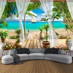 Photo Wallpaper Open Window With Curtains Seaview Sandy Beach Mural - Wallpaper World