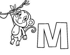 Dibujo de M de Mono para Colorear