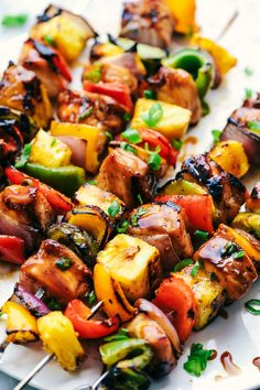 Grilled Hawaiian Teriyaki Chicken Skewers (The Recipe Critic) Teriyaki Chicken Skewers, Chicken Kabob Marinade, Grilled Chicken Skewers, Hawaiian Chicken Kabobs, Chicken Kebab Recipe Skewers, Grilled Vegetable Skewers, Hawaiian Bbq, Veggie Kabobs, Hawaiian Recipes