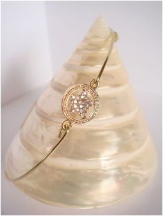 Gold bangle  Crystal clear star setting  Everyday by Cecileis, $12.00
