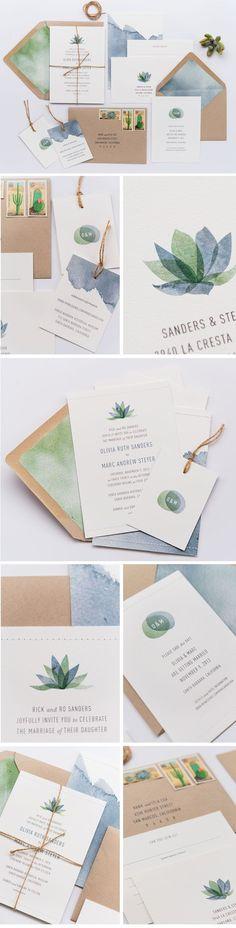 Gorgeous succulent inspired wedding invitations || Bella Collina Weddings