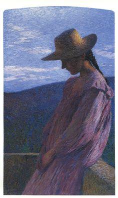 Young girl seated,   Henri Martin