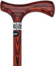 FashionableCanes.com  Fritz Walking Cane With Cocobolo Wood Shaft and Braided Pewter Collar