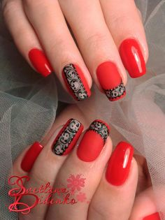 43 Most Sexy And Beautiful Short Red Nails Design (acrylic Nails, Matte Nails) For Fall And Winter - Nails Idea 22 ❤ ❤ ❤ ❤ ❤ ❤ ❤ ❤ ❤ ❤❤ Hope you like these red nails collection ! Red Nail Designs, Acrylic Nail Designs, Acrylic Nails, Coffin Nails, Gorgeous Nails, Pretty Nails, Short Red Nails, Red Black Nails, Red Nail Art