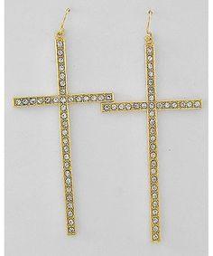 368405 Gold Tone / Clear Rhinestone / Lead&nickel Compliant / Cross Dangle / Fish Hook Earring Set