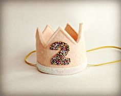Second Birthday Crown Headband Felt Crown by littleblueolive, $19.50