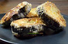 L'aubergine est d'abord cuite à la vapeur, puis panée dans une chapelure au parmesan. Craquante à l'extérieur, moelleuse à l'intérieur, un délice. Parmesan, Banana Bread, Muffin, Breakfast, Desserts, Food, Eggplant, Morning Coffee, Tailgate Desserts