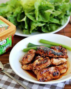 dak bulgogi (korean bbq chicken).  1 lb boneless chicken thigh fillets.  MARINADE: 3 tbsp soy sauce.  1 tbsp lemon juice.  1 tbsp brown sugar.  1 tbsp honey or 1-1/3 tbsp brown sugar.  1 tbsp rice wine/mirin.  1 tbsp minced garlic.  1 tsp grated ginger.  1 tbsp sesame oil.  pinch black pepper.  1 tsp sesame seeds.  SIDES: lettuce leaves, washed and dried.  ssamjang/doenjang.