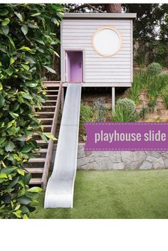a backyard playhouse with a really cool slide - - - - Decor Ideas Home Design Ideas DIY Interior Design home decor Coastal living Outside Playhouse, Backyard Playhouse, Build A Playhouse, Backyard Playground, Plastic Playground, Playground Set, Playhouse Slide, Sloped Yard, Sloped Backyard