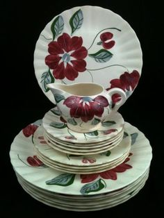 Blue Ridge Southern Potteries Poinsettia Colonial White Red Flowers Mixed Set 17