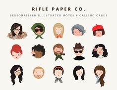 Rifle Paper Co. personalized illustrations for notes and calling cards (a bit pricey, in my opinion, when you could possibly diy-it if you're so inclined