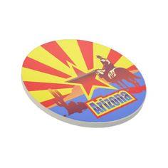 Arizona State Flag Vintage Drawing Drink Coaster