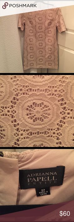 Adrianna Papell Petite tan lace dress (6P) Gently worn - great condition! Adrianna Papell Dresses Mini