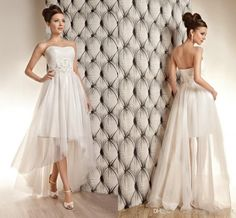 Wholesale High Low Wedding Dresses - Buy High Low Beach Wedding Dresses 2014 Strapless Ruched Bodice Asymmetrical Tulle Cheap Informal Bridal Gowns Elegant Appliques Beaded Sequins, $93.98 | DHgate