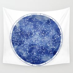 Star Map of the Northern Hemisphere.  Watercolor and Vector line work designed by Artist Stevyn Llewellyn. <br/> <br/> Stars, map, star, constellations zodiac...