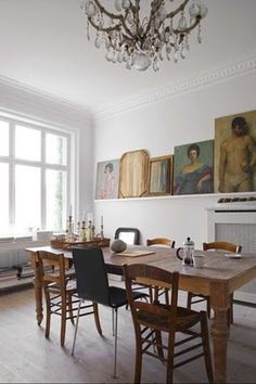 Dining room inspiration.  Minus the portrait of the guy in tighty-whiteys.