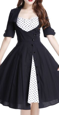 Rockabilly Side Button Polka-Dot Bow Dress by Amber Middaugh Standard Size… Moda Vintage, Vintage Stil, Vintage Mode, Dress With Bow, Dot Dress, Dress Skirt, Dress Up, 50s Dresses, Vintage Dresses