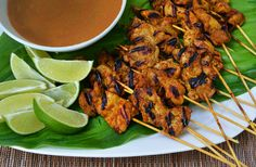Chicken Satay with Peanut Sauce #recipe