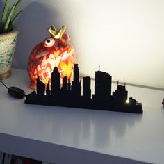 Table lamp decor for living-room / City pattern