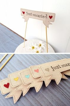 Whimsical wedding banners and signals
