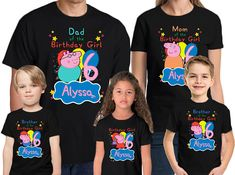 Peppa Pig Shirt Personalized Name & Age Peppa Pig Birthday Shirt Birthday Peppa Pig Party T Shirt Personalized Birthday Family shirts Peppa Pig Happy Birthday, Pig Birthday Cakes, Brother Birthday, Birthday Shirts, Girl Birthday, Familia Pig, Peppa Pig Shirt, Peppa Pig Family, Birthday