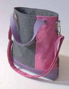 Tricolor big bag in purple, grey and pink.