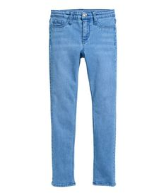 Blue. Skinny-fit jeans in washed, flexible superstretch denim for added freedom of movement. Adjustable elasticized waistband (sizes 8-12Y), zip fly, mock