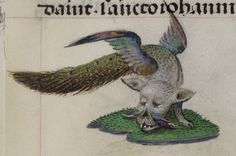 """This is the British Library's official description of this thing: """"Detail of a... well, some kind of animal with a peacock's tail and wings."""" c. 1493, from Add MS 18852, f. 128r."""