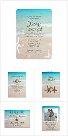 Suite: By the Sea Beach Wedding Invitation Set. These nautical wedding invitation sets / stationary / suites may include: Wedding invitation cards, wedding envelopes, wedding RSVP Cards, wedding address labels, save the dates, wedding programs, wedding thank you cards, rehearsal dinners and more matching wedding products.