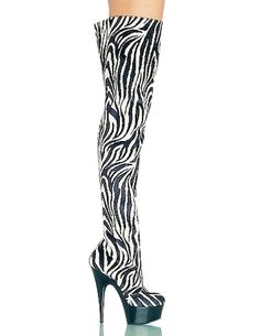 "Zebra Pattern 5 7/10"" High Heel 1 7/10"" Platform Patent Leather Sexy Boots For Women"