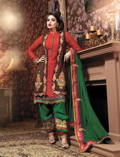 Rust & Brown Color Georgette Material Party Wear Designer Salwar Suit. This is really a gorgeous and sexy salwar suit.