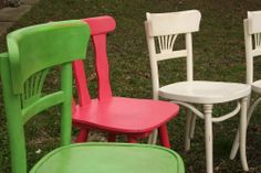 Country chairs, Annie Sloan chalk paint Antibes green, Old white and dark wax