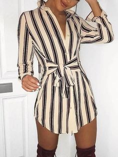 Ninimour Womens Self-Belt Stripe Print Casual Shirt Blouse Dress at Women's Clothing store: Casual Summer Dresses, Casual Outfits, Casual Shirt, Dress Summer, Spring Summer, Dress Casual, Winter Outfits, Mode Boho, Blouse Dress