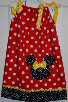 Minnie Mouse Dress, Minnie Mouse Inspired Pillowcase Dress. $22.00, via Etsy.