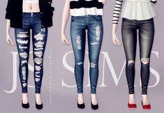 ~so hard finding nice non glitchy cc ugh~  Denim Ripped Jeans by JS Sims3 - Sims 3 Downloads CC Caboodle