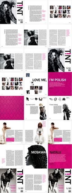 Tint. The word 'tint' has been chosen for the title of a new fashion magazine. The main aim of this project was to make the publishing market more diverse. The potential readers of the magazine are young confident women, who want to stand out from the surrounding grim reality. A magenta exclamation mark turned upside down is a symbol of this message.